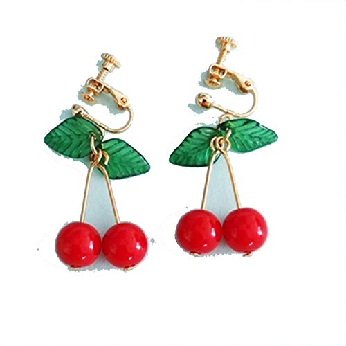 (fashion Fruit pendant earrings female red cherry earrings fruit long eardrop in South Korea Fruit jewelry earring)