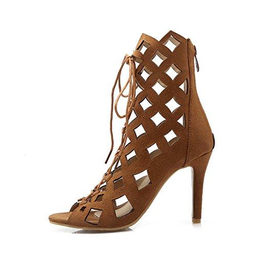 e150dbc9a37f YE Damen High Heels Sommerstiefeletten Offen Ankle Boots Cut Outs Sandalen  mit Schnürung 10cm Absatz Schuhe ...