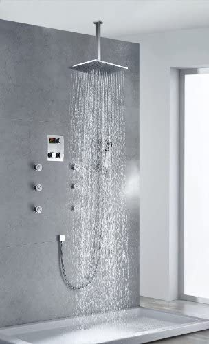 Chrome Rainfall Thermostatic Shower Combo Set Luxury Shower System Massage Jets