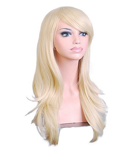 28 inch 70cm Blonde Cosplay Wigs Long Big Wavy Curly Hair Ends Halloween Costume Party Cosplay Wavy Curly Heat Resistance Wig With Bangs and Free Wig (Best 70s Costumes)