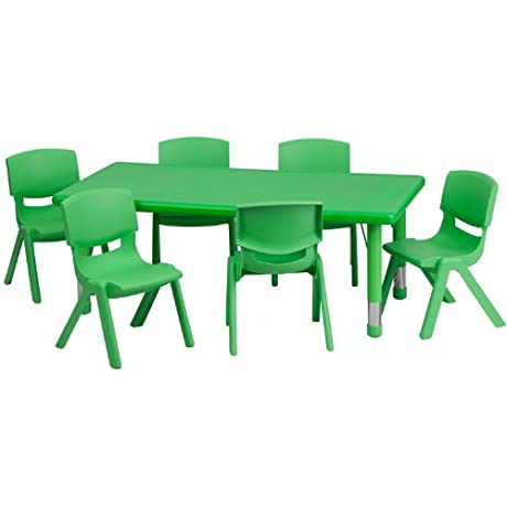 Flash Furniture 24 W X 48 L Rectangular Green Plastic Height Adjustable Activity Table Set With 6 Chairs