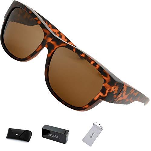 The Fresh High Definition Polarized Wrap Around Sunglasses for Prescription Glasses 66mm Gift Box (5-Matte Tortoise, ()