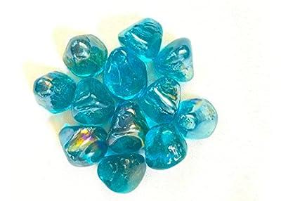 """Large Ocean Blue 1"""" Iridescent Fire Glass Jelly Bean 10lbs"""