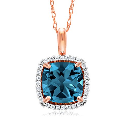 - Gem Stone King 10K Rose Gold London Blue Topaz and White Diamond Pendant Necklace 2.05 Ctw Cushion Cut with 18 Inch Chain
