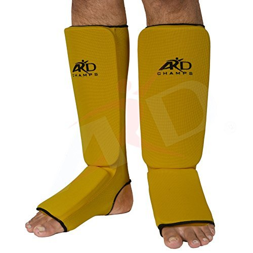 ARD Shin Instep Protectors, Guards Pads Boxing, MMA, Muay Thai (Yellow, Medium) by ARD-Champs