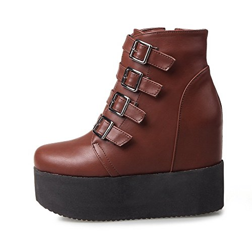 AllhqFashion Womens Low-top Solid Zipper Closed Round Toe High-Heels Boots Brown YhRSFbMtVm