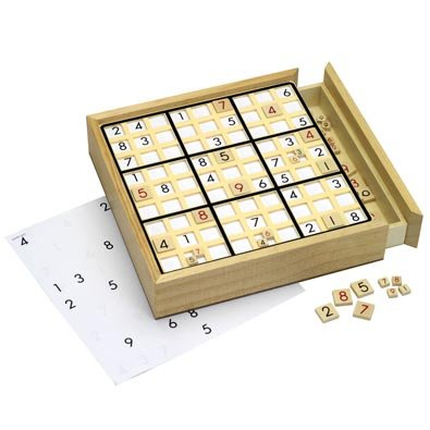 Bits and Pieces - Sudoku Board With 100 Games - Deluxe Wooden Sudoku Game Board - Number Thinking Game for Adults and Kids