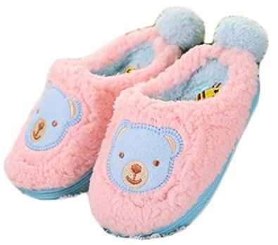 kids bear fleece cute slipper house shoes bedroom slippers slippers