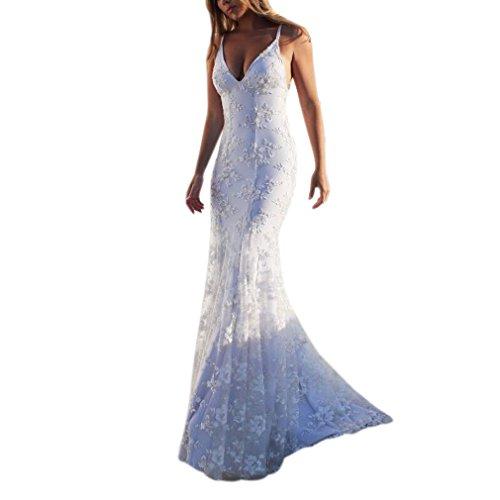 Honghu Women's Spaghetti Strap V Neck Lace Applique Beaded Wedding Dress Backless Mermaid Bridal Gowns White (Beaded Spaghetti Strap Skirt)