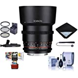 Rokinon 85mm T1.5 Cine DS Aspherical Lens for Nikon F Mount - Bundle With 72mm Filter Kit, Lens Wrap, Lenspen Lens Cleaner, Cleaning Kit, Capleash II, Mac Software Package