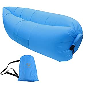iZEEKER Inflatable Lounge, Air Lounge,Inflatable Hammock,Inflatable Lounger,Lamzac Bean Bag Rech Storage Bag(Blue)