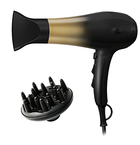 KIPOZI 1875W Hair Dryer,Nano Ionic Blow Dryer Professional Salon Hair Blow Dryer Lightweight Fast Dry Low Noise,with Concentrator, Diffuser, 2 Speed and 3 Heat Setting