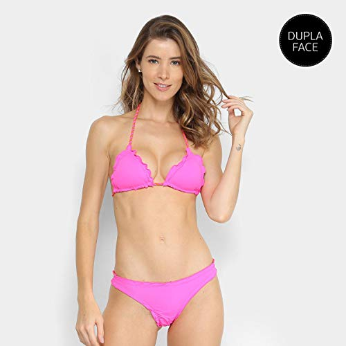 Conjunto De Biquíni Cortininha Com Bojo Labamba Riplle Dupla Face - Pink+Laranja - P