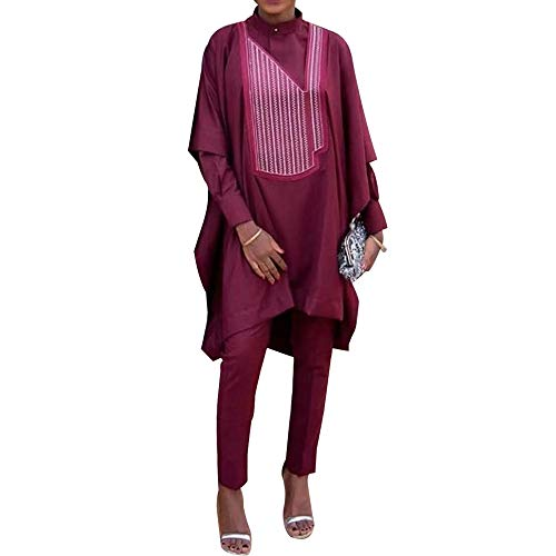HD West African Traditional Clothes for Woman Ethnic African Wear 3 Pieces Bazin Outfits Slim Size,Red 2XL