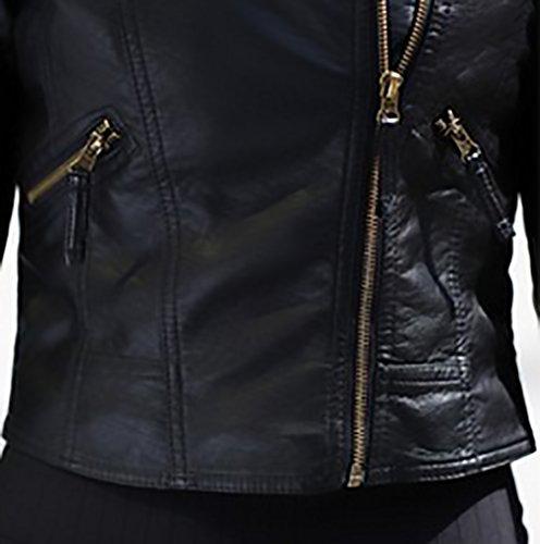 Giacche Slim Vintage Puro Elegante Hippie Outwear Corto Biker Autunno Zip Revers Manica Nero Pelle Cappotto Moto Fit Donna Moda Giovane Colore Finta Similpelle Ecopelle Giacca Giubbotto Lunga Bomber ISaqwnRf