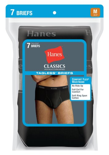 Hanes Men's 7-Pack Black/Gray Full-Cut Briefs M (Hanes Classics Cotton Briefs)