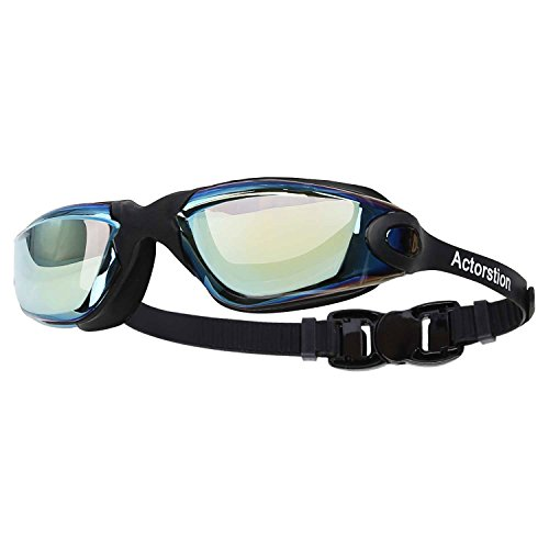 Actorstion Mirrored Swim Goggles Soft and Comfortable - Anti-Fog UV Protection, Best Tinted Swimming Goggles with Case - Aqua Sphere, or Ispeed - Adult Men or Women, Premium Quality - Wetsuits For Best Swimming