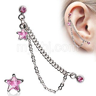 Star Chained Cartilage Earring - - Star Gemmed