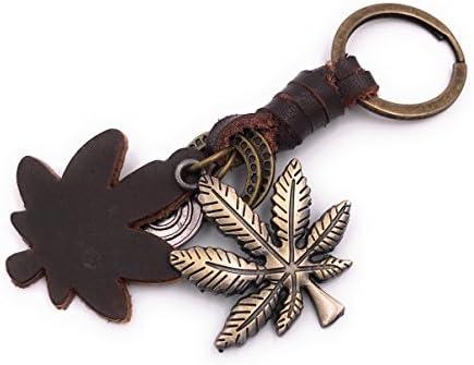 Schlüsselanhänger Hanf Blatt Weed Bronze Metall Anhänger Charm