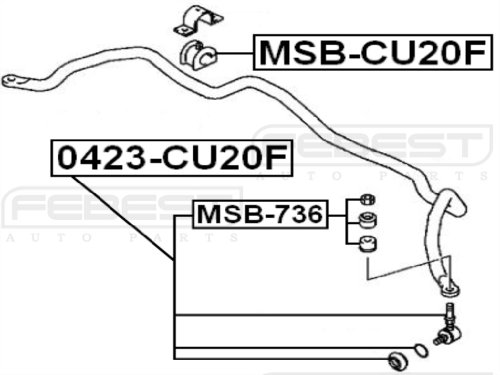 Mn100250 - Stabilizer/ Sway Bar Bushing (FRONT) D26 For Mitsubishi - Febest