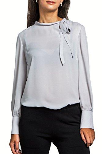 Inverted Pleat Coat - Everyday Womens Princess Cuff Long Sleeve Chiffon Blouse, Narrow Tie Neck, Wear to Work, Silvergray-XXL (US 12)