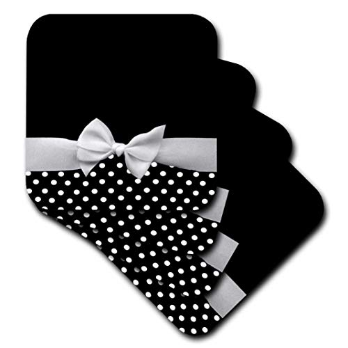 - 3dRose Cute Fifties Style Black and White Polka Dot Pattern with Elegant Sophisticated White Ribbon Bow - Soft Coasters, Set of 4 (CST_56662_1)