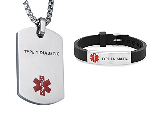 (LF Stainless Steel Type 1 Diabetic Medical Alert Dog Tag ID Pendant Caduceus necklace Set Adjustable Silicone Rubber Chain Medical ID Health Alert Monitoring Systems Jewelry Sets for Men Women)