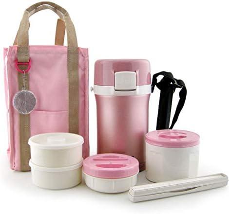 保温 弁当箱 Thermosステンレス食品フラスコ、漏れ防止真空断熱食品容器、4層、ポータブルバッグ、大容量