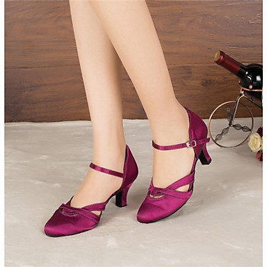 XIAMUO Anpassbare Frauen Modern Dance Schuhe Latin/Jazz/Modern Schuhe/Salsa/Samba Satin angepasste Ferse Schwarz/Violett, Schwarz, US5/EU 35/UK3/CN34