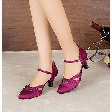XIAMUO Anpassbare Frauen Modern Dance Schuhe Latin/Jazz/Modern Schuhe/Salsa/Samba Satin angepasste Ferse Schwarz / Lila, Lila, US 9.5-10/EU 41/ UK 7,5-8/CN 42