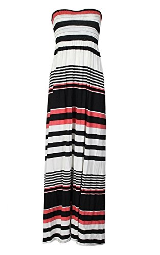 Janisramone New Sheering Stretchy Black Printed Womens Dress Coral Stripe Boobtube Maxi Bandeau Long Strapless rrdwY