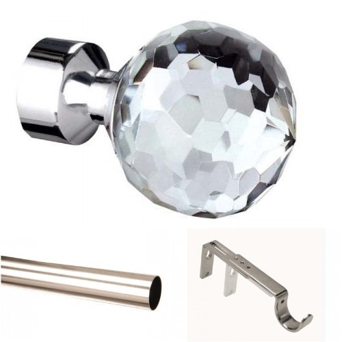 400cm 28mm CRYSTAL FINIAL Trade Packed EYELET Curtain pole Satin Steel (no rings) Homestore International