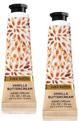 Bath and Body Works 2 Pack Vanilla Buttercream Hand Cream with Shea Butter. 1 Oz. (Cream Vanilla Hand Scented)