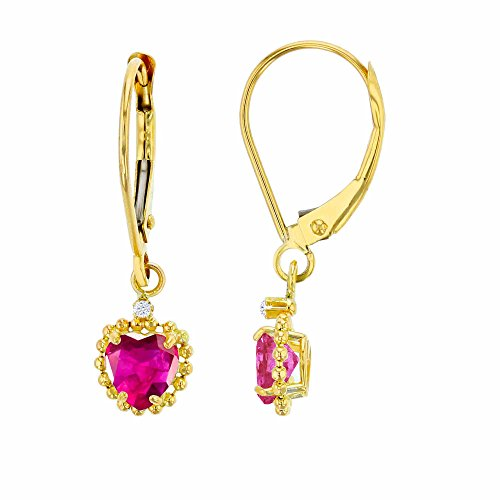 14K Yellow Gold 1.25mm Round White Topaz & 5mm Heart Created Ruby Bead Frame Drop Leverback Earring