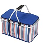 LANOUOGGK-Picnic Basket-Outdoor-Folding -Picnic Ice Bag Insulated- Strong Aluminum Frame (Blue) … …