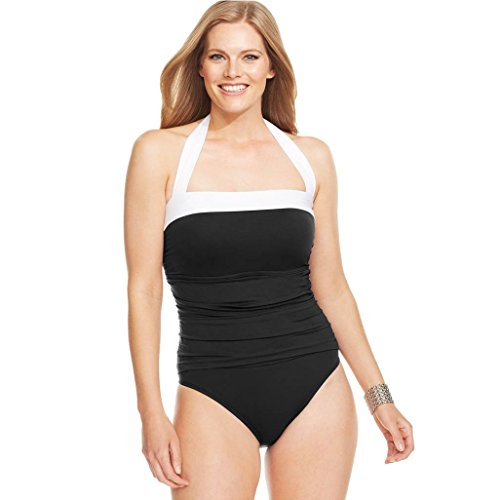 4464f3e2d87 Lauren Ralph Lauren Plus Size Ruched Tummy-Control Swimdress