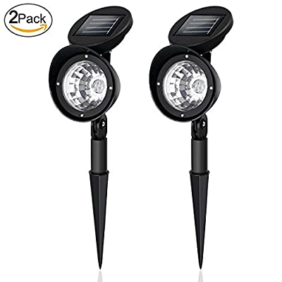 Solar Spotlights, 2-in-1 Solar Powered 4 LED Adjustable Waterproof Outdoor Security Lighting wall / Landscape Solar Lights Auto On/Off for Backyard Driveway Patio Gardens Lawn Pool ( Pack of 2)