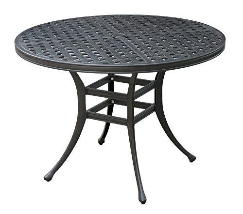 HOMES: Inside + Out IDF-OT2303-RT Nahnie Oval Patio Dining Table, Antique Black For Sale