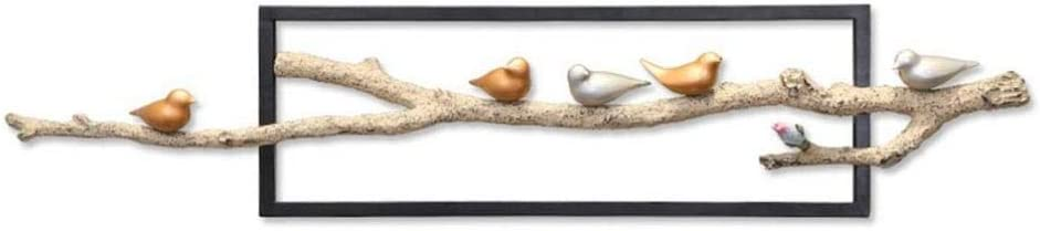 HXPBJ Decoración De Pared De Metal Montado En La Pared 4 Pájaro Posado En Una Rama con Marco De Hierro Forjado Obra De Arte 51X11 Pulgadas