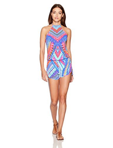 Luli Fama Women's Star Girl Engineered Backless Romper Cover up