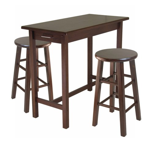 Winsome Wood 3-Piece Breakfast Table with 2 Square Leg Stools (With Breakfast Island Stools)