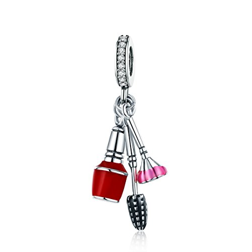 The Kiss Lady Makeup Tools Cosmetics Enamel Dangle 925 Sterling Silver Bead Fits European Charm Bracelet