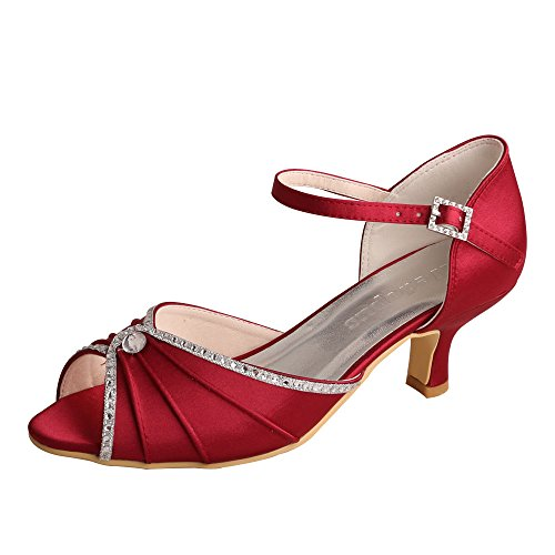 Wedopus MW033B Women's Open Toe Mid-Heel Mary Janes Rhinestones Wedding Party Sandals Wine Red XJdRFmaB