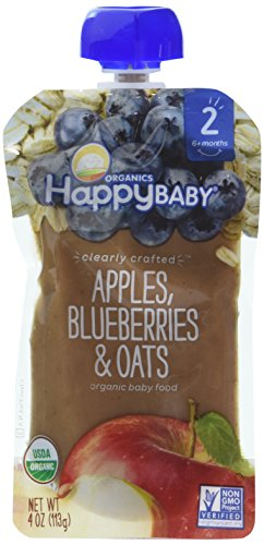Happy Family Stage 2, Apples, Blueberries and Oats, 4 Ounce, Pack of 8