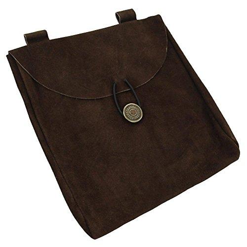 Medieval Renaissance Leather Brown Suede Pouch Large (Renaissance Pouch)