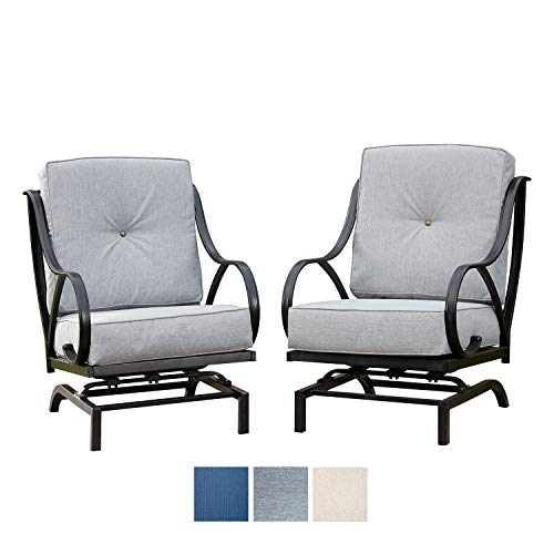 Festival Depot 2 of Outdoor Patio Dining Chairs with Gray Cushions Set Premium Fabric Metal Frame Furniture Set Garden Bistro Seating Chair Thick&Soft Cushions (2pc Dining Chairs, Grey)
