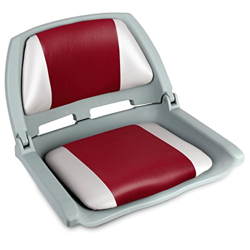 Leader Accessories Molded Fold Down Boat Seat (Gray/Red)