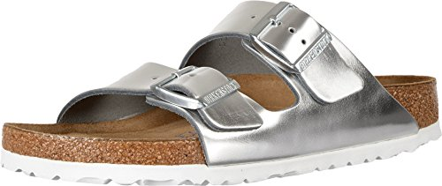 Birkenstock Women's Arizona Soft Footbed Metallic Silver Leather Sandal