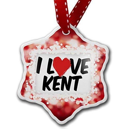 VinMea Star Shaped Porcelain Red Christmas Ornament I Love Kent, red - ()