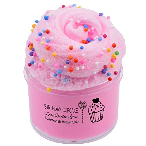 Cloud Slime Pink Birthday Cake Cotton Candy Slime Scented Slime Clay Sludge Beading Supplies Toys for Adults and Kids 8oz